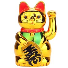 Gold Maneki Neko Cute Lucky Cat Electric Craft Art Home Shop Hotel Decoration