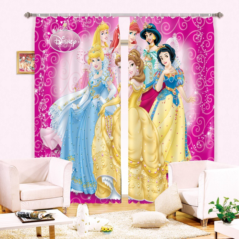 shade fabric pink color princess 3d blackout curtains for baby girls kids bedding room living room