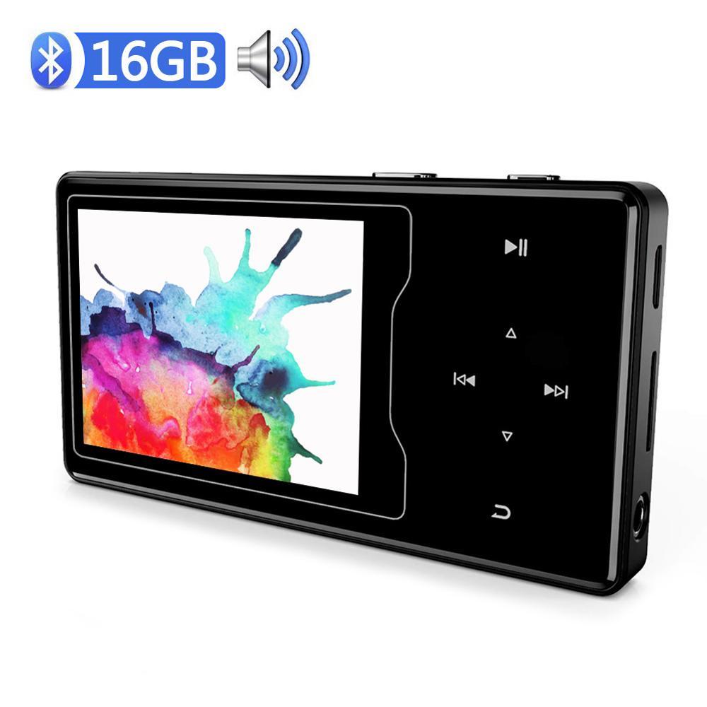 Lecteur MP4 Bluetooth 4.2 haut-parleur intégré 16 GB avec 2.4 HD TFT écran couleur corps métallique HIFI sans perte son lecteur vidéo Walkamn