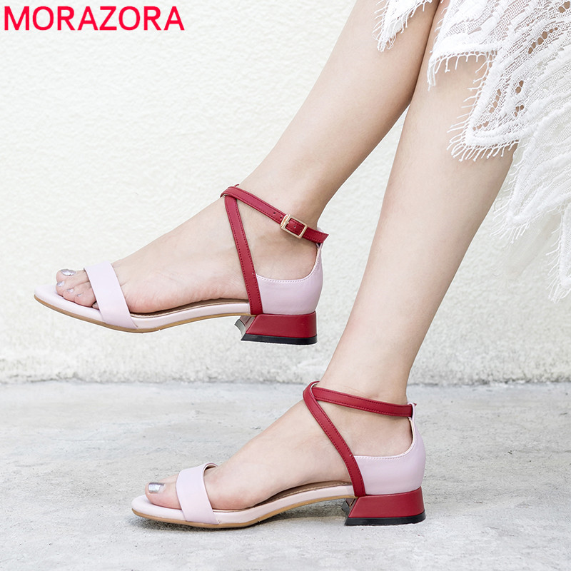 MORAZORA 2019 top quality genuine leather women sandals mixed colors sqaure heels summer shoes buckle casual shoes woman
