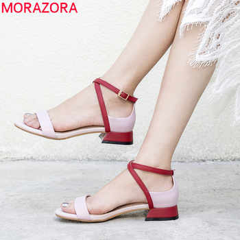 MORAZORA 2019 top quality genuine leather women sandals mixed colors sqaure heels summer shoes buckle casual shoes woman - DISCOUNT ITEM  48% OFF All Category