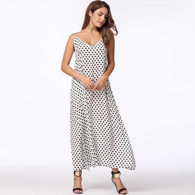 Polka Dots Maxi Dress Long Casual Summer Beach Chiffon Party Dress