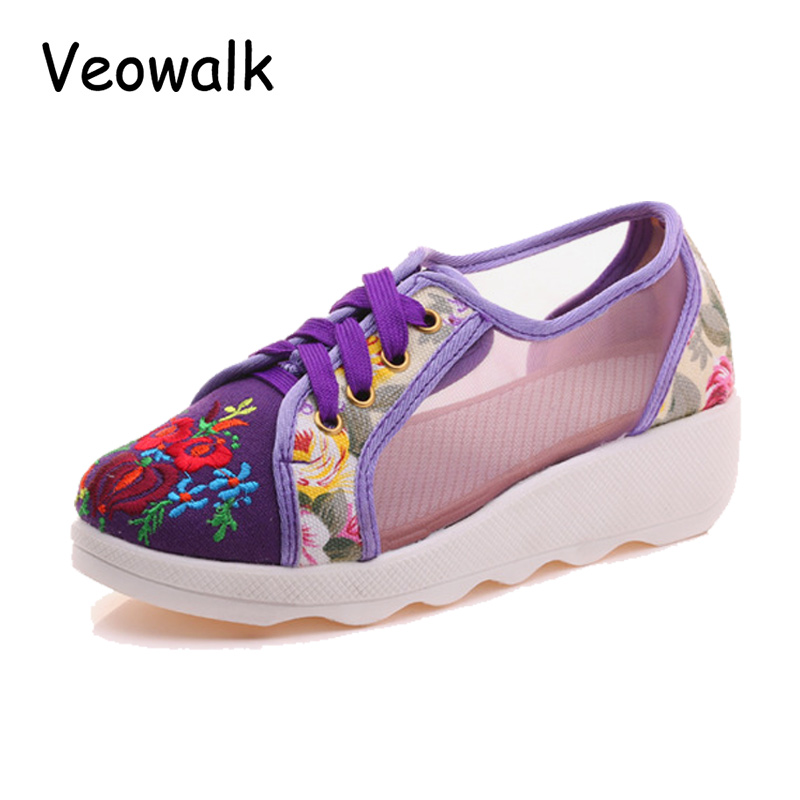 Veowalk Breathable Gauze Design Women Floral Embroidered Flat Platforms Summer Fashion Ladies Casual Lace-up Shoes Zapatos Mujer summer women shoes casual cutouts lace canvas shoes hollow floral breathable platform flat shoe sapato feminino lace sandals