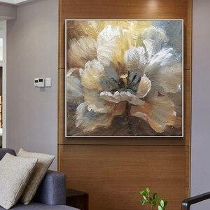 Image 2 - لوحة زيتية تجريدية مرسومة يدويًا لعام 100% على قماش كتان لتزيين صور بدون إطار لغرفة المعيشة هدايا ديكور منزلي