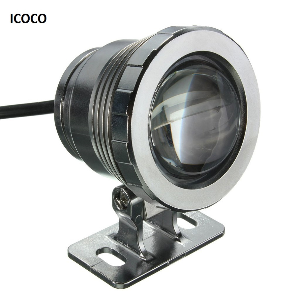 ICOCO Waterproof 10W RGB <font><b>LED</b></font> Light <font><b>Garden</b></font> Fountain Pool Pond <font><b>Spotlight</b></font> Super Bright Underwater Light Lamp with Remote Control image