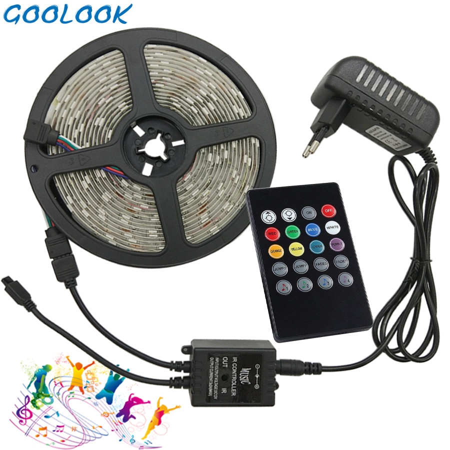 Goolook  RGB LED Strip Light 5050 SMD 5m 10m Led Light Tape Waterproof RGB Diode LED Ribbon Music IR Controller + Power Supply