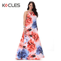 Plus Size 5 6 7XL Women Summer Bohemian Sexy Elegant Maxi Fit Flare Flower Floral Print