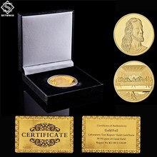Pièces d'or européennes avec boîte à pièces de luxe noire, italie Da Vinci Renaissance le dernier dîner