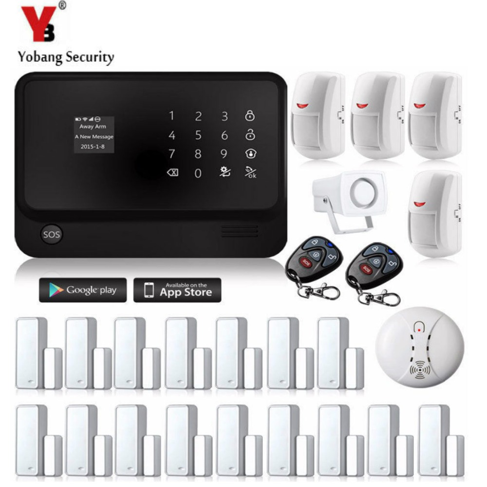 YobangSecurity 2.4G Wireless Home Security System Wifi GSM Alarm System G90B Smoke Detector 433 PIR Magnetic Door Alarm Sensor yobang security wifi gsm wireless pir home security sms alarm system glass break sensor smoke detector for home protection