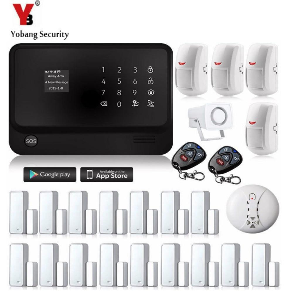 YobangSecurity 2.4G Wireless Home Security System Wifi GSM Alarm System G90B Smoke Detector 433 PIR Magnetic Door Alarm Sensor