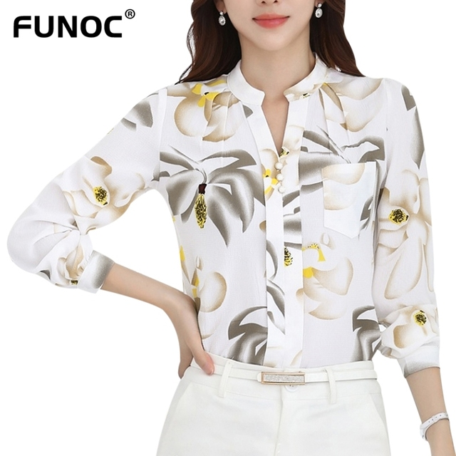 5bed731c209 Ladies Office Shirts Black White Chiffon Blouse Women Autumn 2017 Long  Sleeve Korean Style Blusas Fashion