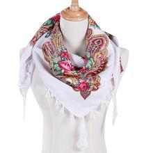 Fashion Women Ladies Scarf Winter Autumn Square Silk Scarf Floral Printed Tassel Shawl Bandana sciarpa donna luxury brand