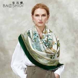Image 2 - [BAOSHIDI] 100% di modo di seta sciarpa, 16 m/m di spessore, Infinity 132*132 cm Sciarpe delle donne, elegante di marca sciarpe, scialle delle signore, donna hijab