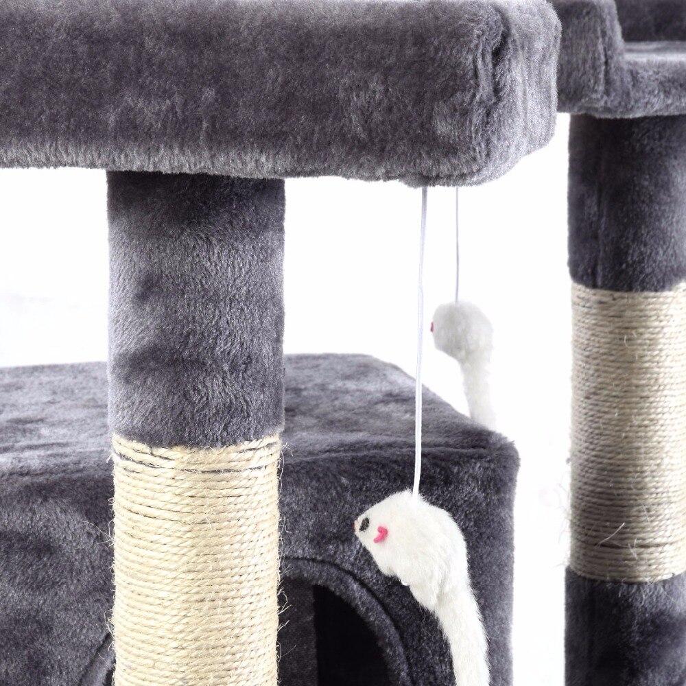 170 см Когтеточка для кошек кровать для домашних животных лазание пост Дерево Игрушка центр деятельности игровой полюс PS5793GR - 6