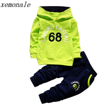 Спортивный костюм для малышей, комплекты осенней одежды для малышей, модная брендовая одежда для мальчиков и девочек, детская футболка с ка...(China)