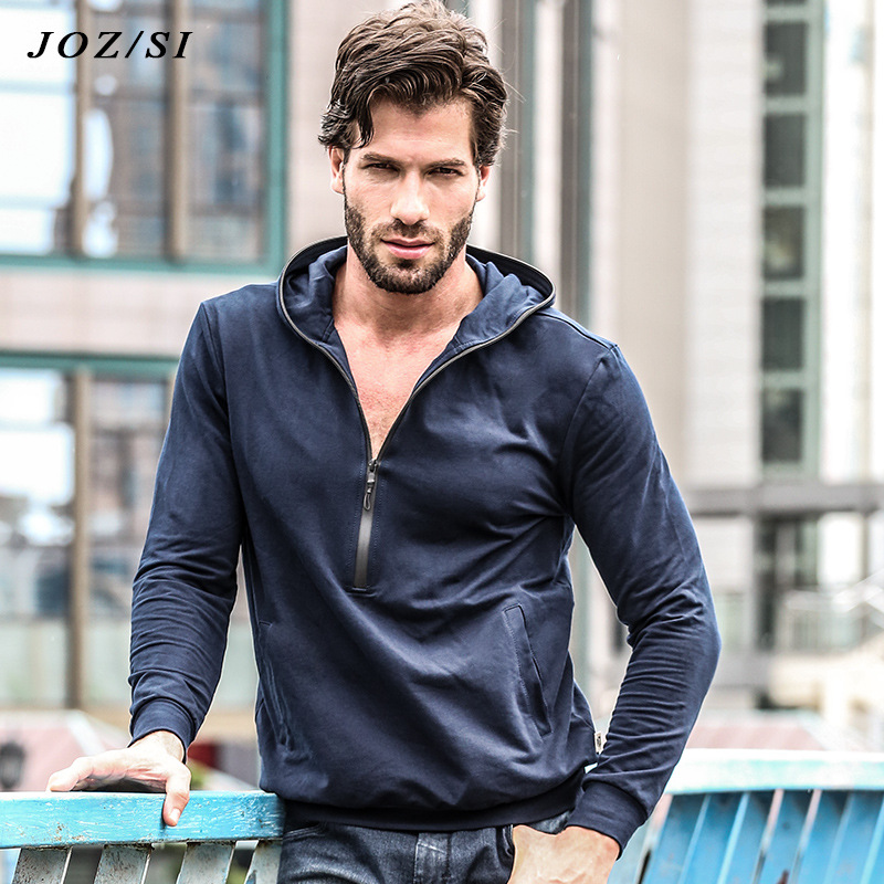 Men Shirt Long Sleeve Hoodie Half Zipper Fasion 2018 Hooded Male Jacket Zipper Sweatshirt Male Tracksuit