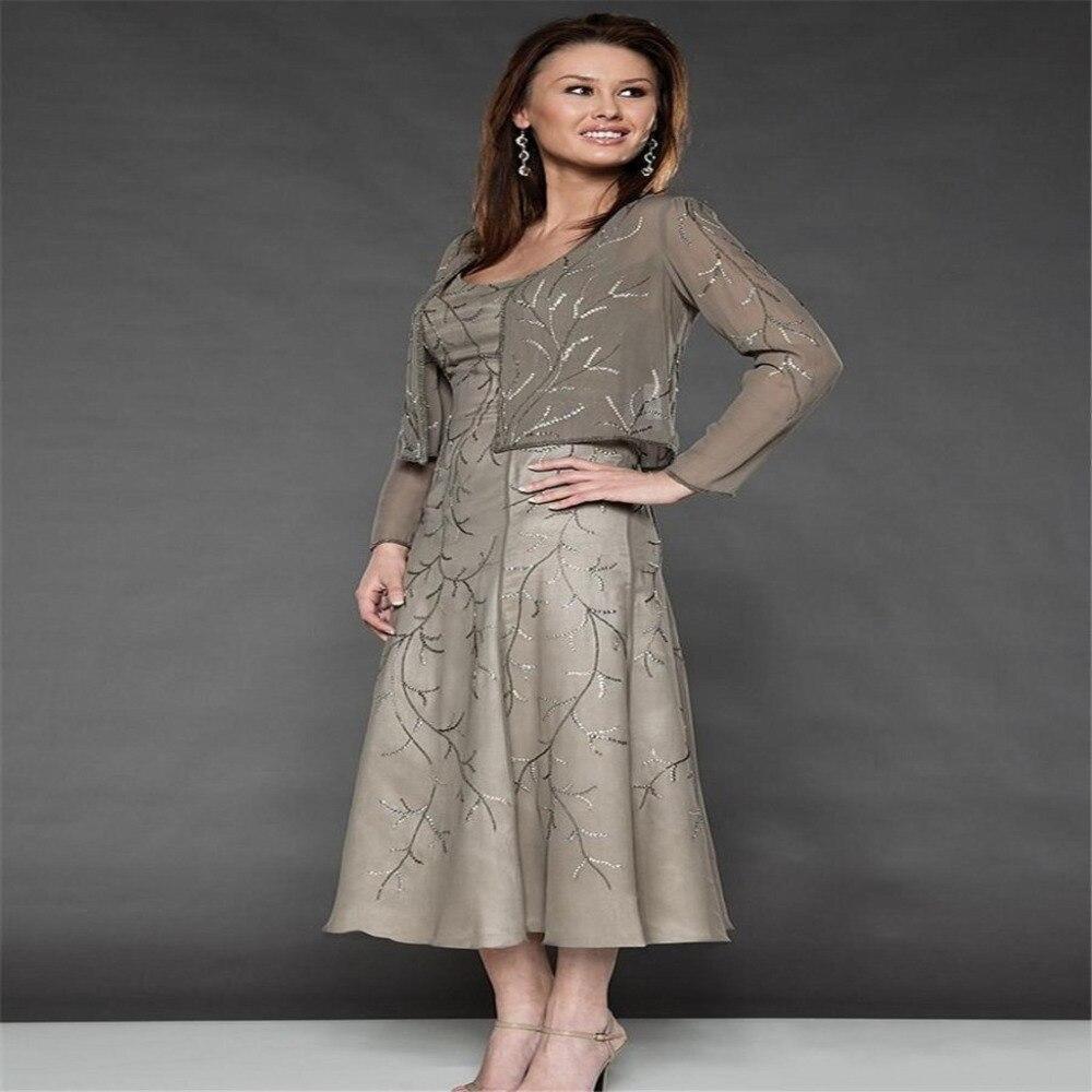 Silver Jacket Plus Size Mother Bride Dresses