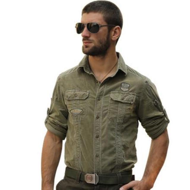 2017 американской армии повседневная с длинным рукавом мужчин осень военной вельвет повседневная рубашка мужские рубашки 100% хлопок вельвет рубашка