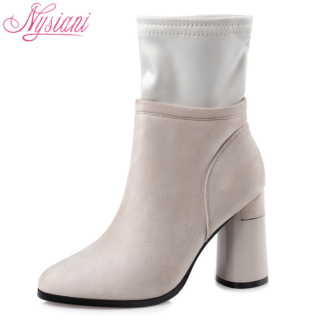 2018 Women Thick Heel Ankle Boots Brand Designer Nightclub Sexy High Heels Shoes Woman Pointed Toe Ankle Boots Girl Nysiani