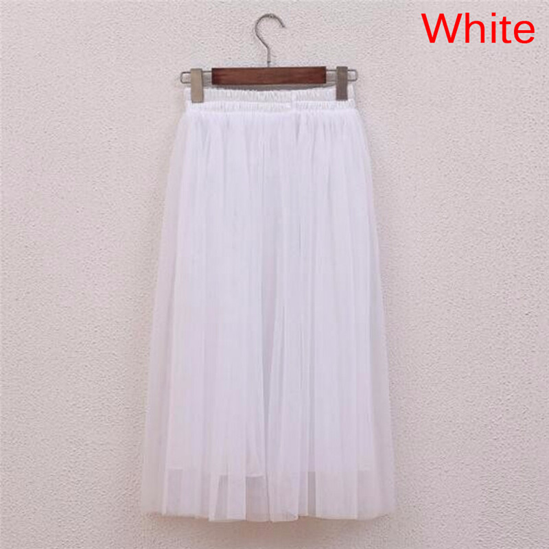 Tulle Skirts Women Summer Casual High Waist Long Skirt Elastic Waist Sun Fluffy Tutu Skirt Jupe Longue Femme