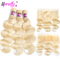 Upretty 613 Brazilian Hair Weave Bundles With Frontal 3Human Hair Bundles With Closure Body Wave Blonde Bundle With Closure Deal