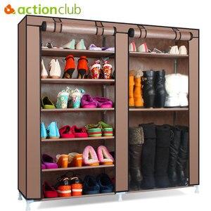 Image 1 - Actionclub meuble à chaussures étagère à chaussures stockage grande capacité meubles de maison anti poussière Double rangée étagères à chaussures bricolage économiseur despace