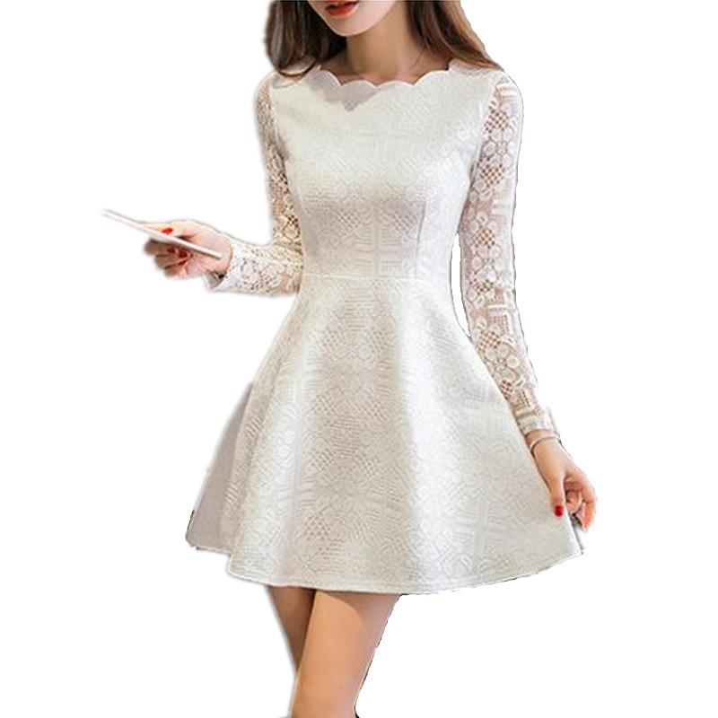 Spring Summer Autumn Women Lace Casual Dress Long Sleeve ...