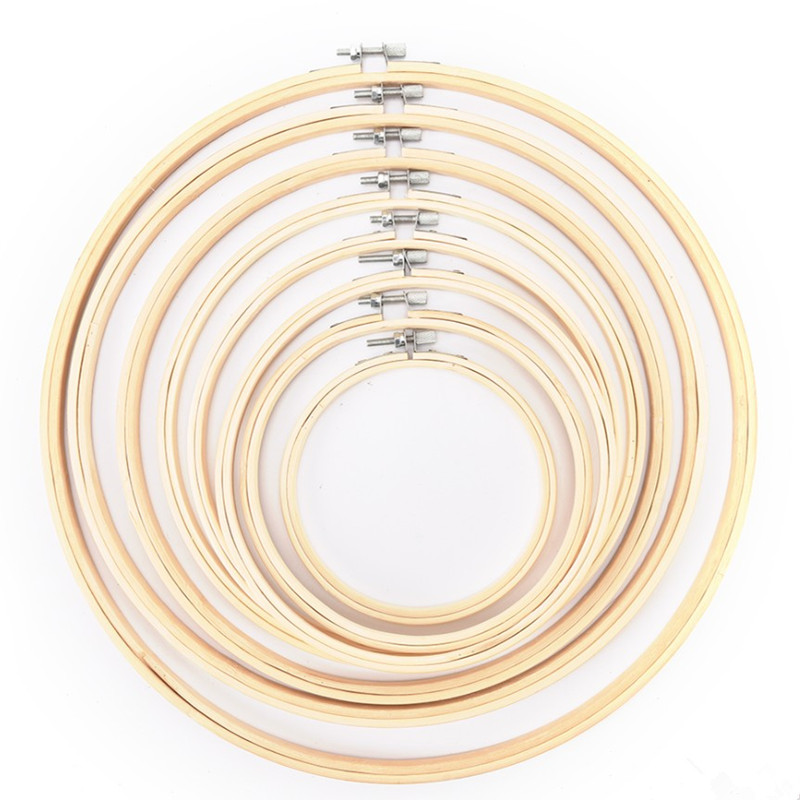 Wooden Cross Stitch Machine Embroidery Hoop Ring Bamboo Sewing 8-33cm