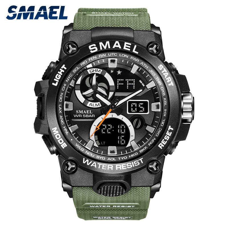 SMAEL 2020 ספורט שעון גברים כפול זמן עמיד למים 50M Miliatry שעונים כרונו מעורר שעוני יד בציר קלאסי שעון דיגיטלי 8011