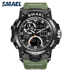 Image 5 - SMAEL 2020 montre de Sport hommes double temps étanche 50M miliatrie montres Chrono alarme montre bracelet Vintage classique montre numérique 8011