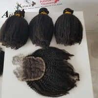 Mongoolse Afro Kinky Krullend Weave 3 Menselijk Haar Bundels Met Sluiting 4 stks Virgin Haar Bundels Met 4x4 vetersluiting Atina