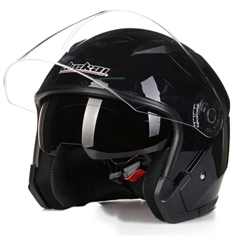 JIEKAI 512 model double lens open face motorcycle helmet DOT approved moto helmet Scooter bike helmet for adults mand and woman