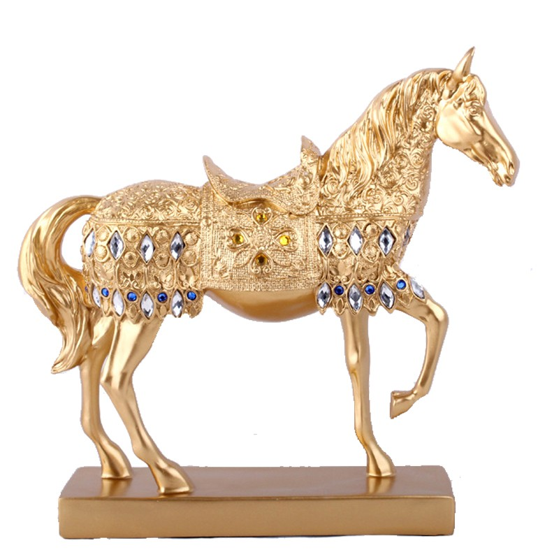 Amiable 28.8cm 11.3 Resin Golden Silvery Trotting Horse Statue Decoration Animal Sculpture Horse Figurine Miniature Home Office Decor Reputation First