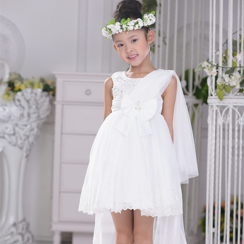 ФОТО 2017 New Girls Dress For Children Flower Girl Dress Princess Outfit Kids Formal Wedding Costume For Party Kids Clothes SKF154004