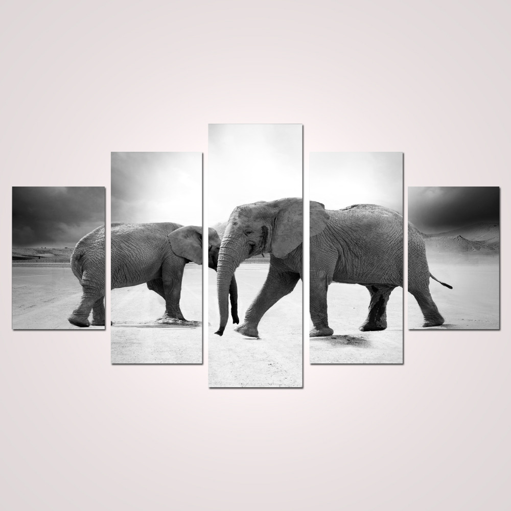 5 Panels Canvas Print Two Elephants Painting for Living Room Wall ...
