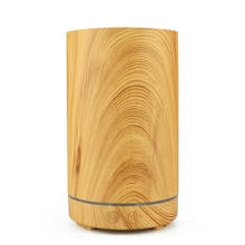 Electric Humidifier Aroma Oil Diffuser Ultrasonic Wood Grain Air Humidifier Mini Mist Maker 7 Color Led Light For Home Office