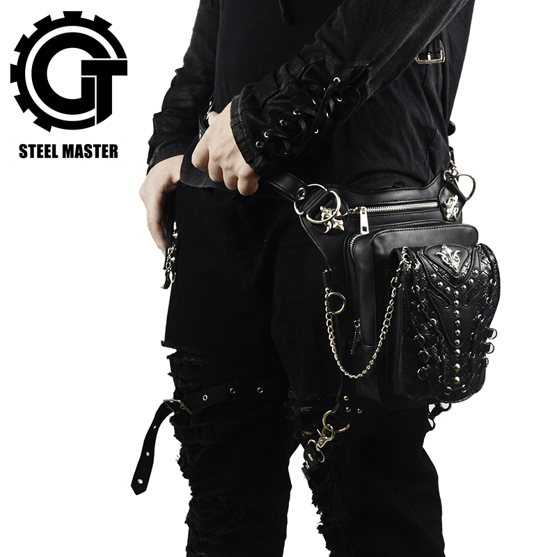 Fashion Cool Steampunk Waist Bags for Women Men Punk Style Retro Leather Fanny Packs Vintage Multi-function Leg Bag Holster Bags