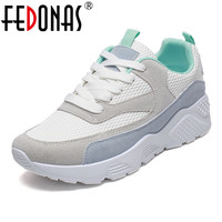 FEDONAS 2018 New Women Spring Sneakers Flat Travel Shoes Wedges Platform Creepers Female Casual Flats Ladies