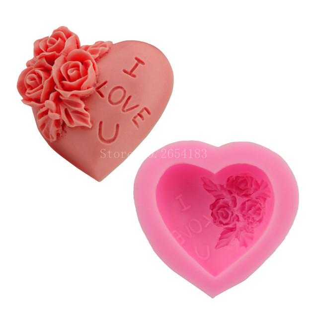 Flower Rose & I Love U Heart Silicone Fondant Soap 3D Cake Mold Cupcake Jelly Candy Chocolate Decoration Baking Tool FQ2271