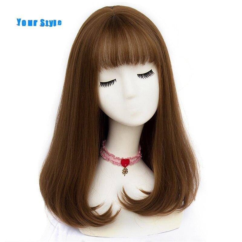 Seu estilo 45 cores sintéticas longas perucas de cabelo natural em linha reta com franja das mulheres afro-americano cabelo marrom cor cinza
