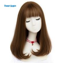 Stil 45 renkler sentetik uzun düz doğal saç peruk patlama ile bayan afrika amerikan saç kahverengi gri renk