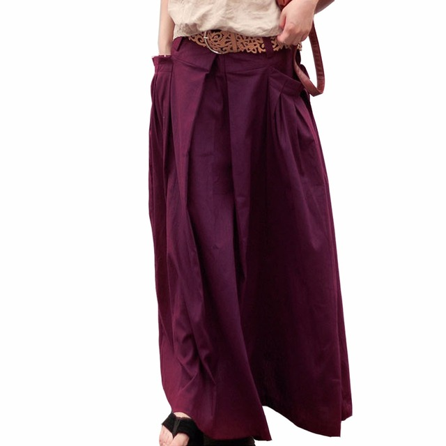 SERENELY 2016 Women Skirts Saias Femininas Plus Size Linen Skirts Pleated Pockets Casual Maxi Skirt Long Skirts Women  S07