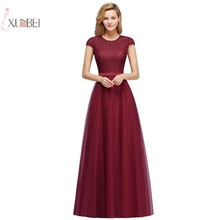 New Elegant 2019 Burgundy Tulle Long Evening Dress A line Cap Sleeve Gown robe de soiree