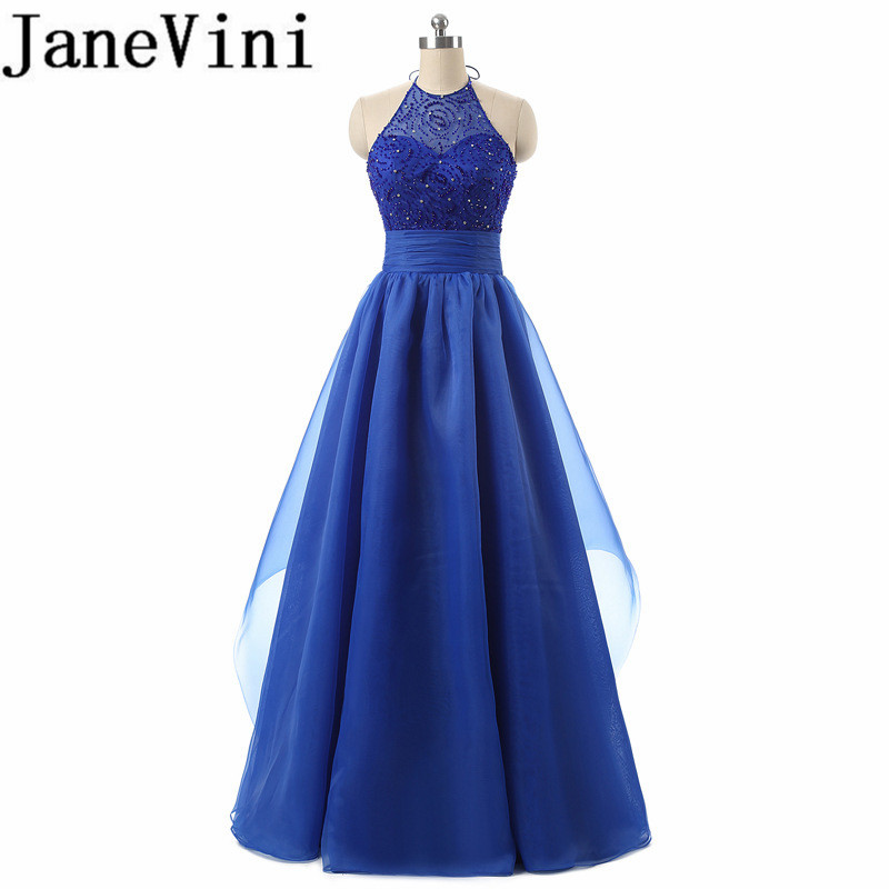 JaneVini Sexy Royal Blue Beads Crystal Long   Bridesmaid     Dresses   Halter A Line Organza Special Occasion Prom Party Gowns Plus Size