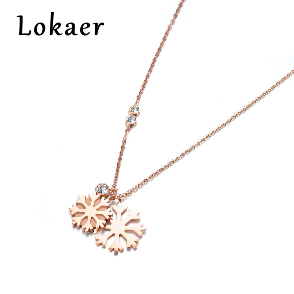 Lokaer Trendy Double Snowflakes & Cubic Zirconia Pendant s