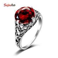 Szjinao Ringen voor Vrouwen Handgemaakte Rode CZ Sieraden Trouwkaarten Zilver 925 Sieraden Accessoires Groothandel China Palace