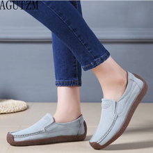 AGUTZM New Spring Autumn Women Moccasins Women's Flats Suede Genuine leather Shoes Woman Lady Loafers Slip On Flat Shoes V678 eofk brand autumn women loafers moccasin homme casual suede leather shoes moccasins slip on woman shoes mocasines