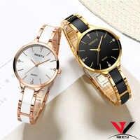 Relogio Feminino NIBOSI Frauen Uhren Wasserdicht Top Marke Luxus Uhr Frauen Mit Keramik Und Metall Strap Uhren Para Mujer