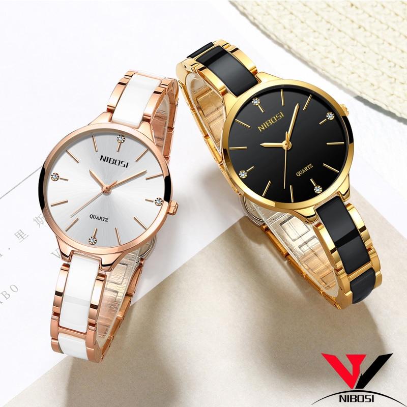Reloj Mujer NIBOSI Relojes de Mujer impermeable superior de la marca de lujo de reloj de las mujeres con cerámica y Metal Correa Relojes Para Mujer NIBOSI