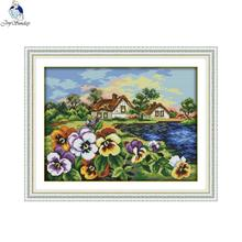 Cross-Stitch-Kits DMC Pansy Joy-Sunday Hometown Embroidery Fabric Canvas Needlework Counted